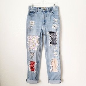 Vintage High Rise Distressed Patchwork Mom Jeans